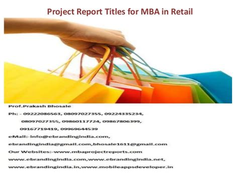 Mba In Retail Management by Project Report Titles For Mba In Retail