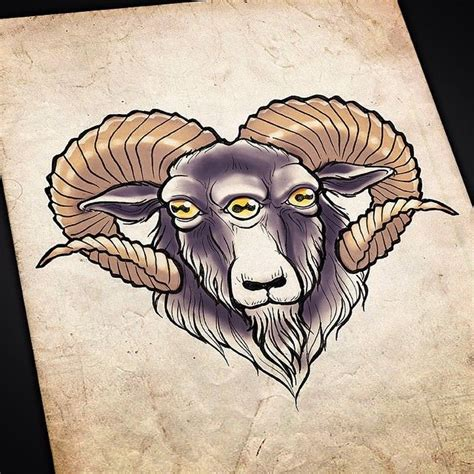 satanic goat tattoo beeeeeh artist artwork tattooflash goat
