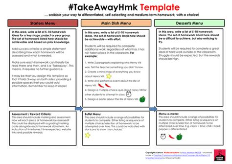 takeaway homework template by teachertoolkit by rmcgill