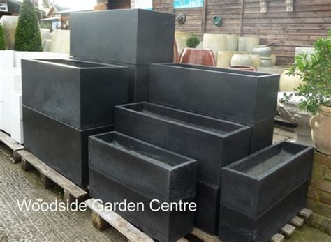 Lightweight Trough Planters by Large Black Terrazzo Lightweight Troughs Woodside Garden Centre Pots To Inspire