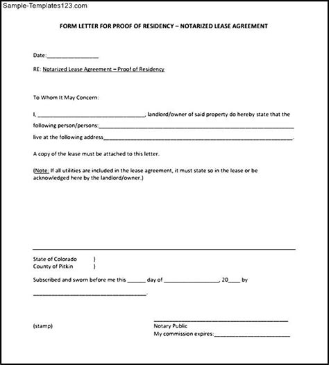 letter of residency template blank notarized letter for proof of residency template pdf