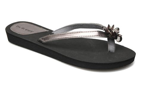 silver isotoner slippers isotoner tong city fleur flip flops in silver at sarenza