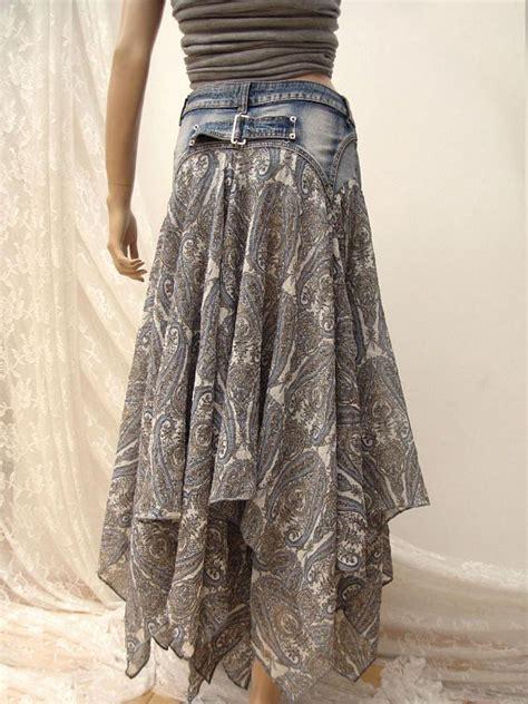 Rok Denim Maxi Skirt Naura Skirt denim festival folk maxi skirt boho upcycled skirt upcycle folk boho and