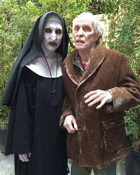 the nun cast valak actress valak and bill wilkins from the conjuring 2 creeps