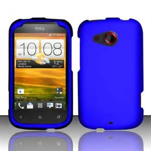 For cricket htc desire c rubberized hard case snap on phone cover blue