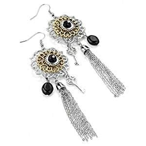 Tassel Earring Key two tone filigree flower tassel key