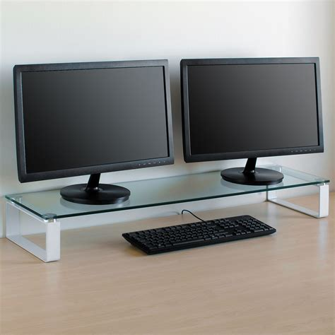 computer desk with monitor shelf x large monitor riser stand pc imac screen tv