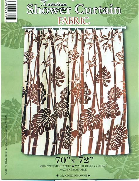 Hawaiian Shower Curtains Hawaiian Tropical Fabric Shower Curtain Brown Bamboo