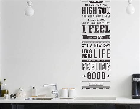 Song Lyric Wall Stickers feeling good quote wall sticker contemporary wall stickers