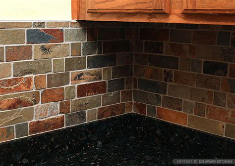 brown slate mosaic subway backsplash tile backsplash com