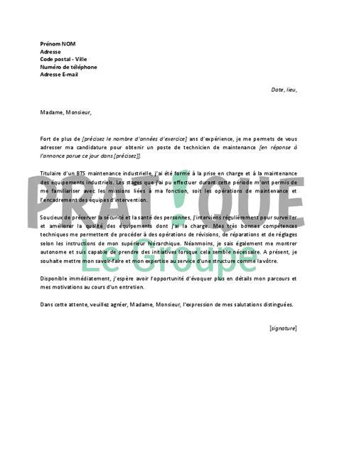 Exemple De Lettre De Motivation Technicien modele lettre de motivation technicien document