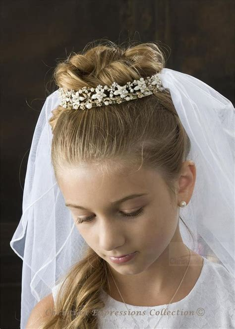 pictures of childrens hair with communion veil first communion hair elizabeth has a tiara veil first