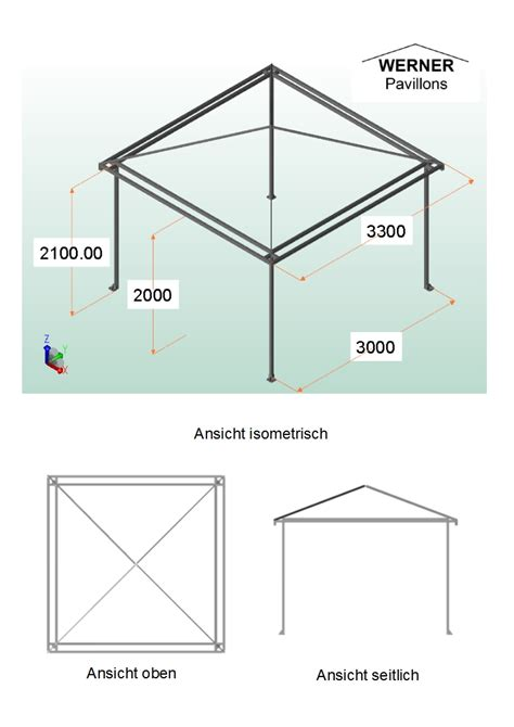 Pavillon Alu 3x3 by Pavillon 3x3 Quot Alu Verde Quot Mit Dach 252 Berstand Www