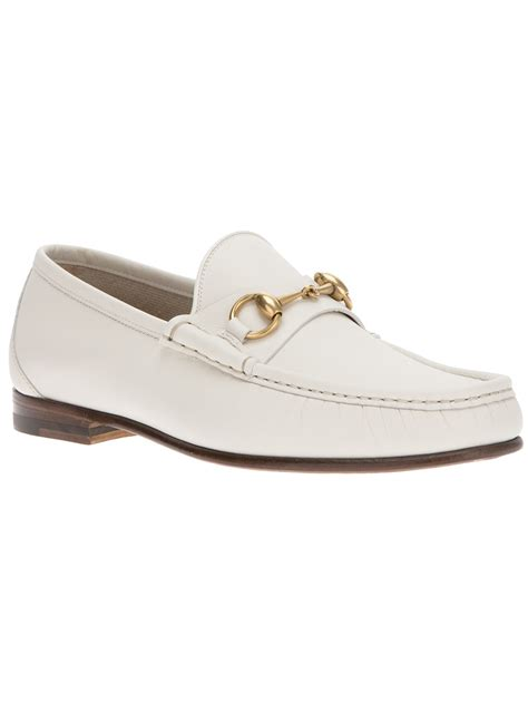 gucci loafers white gucci stirrup loafer in white for lyst