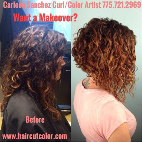 Curl transformation from long to a Curly Aline by Carleen