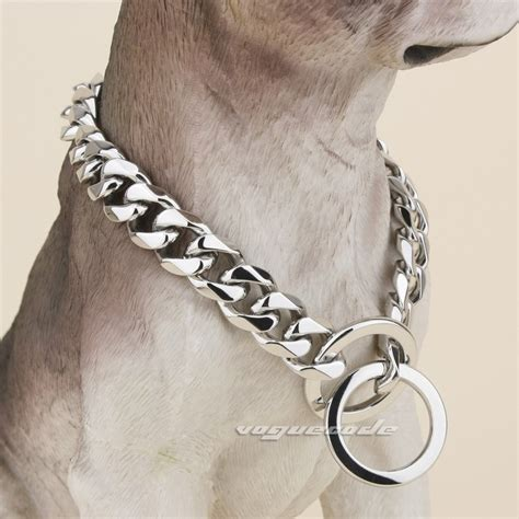 chain collars 14mm width 316l stainless steel luxury cuban link chains collars 5n010dc 16