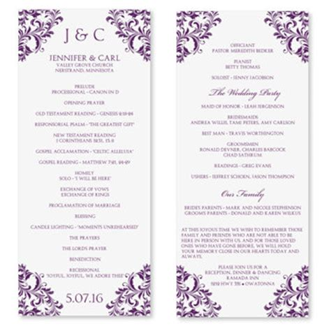wedding program word template free microsoft word wedding program templates