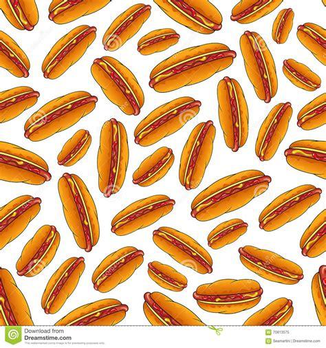 hotdog pattern cute seamless hot dog sandwiches with sauces pattern stock