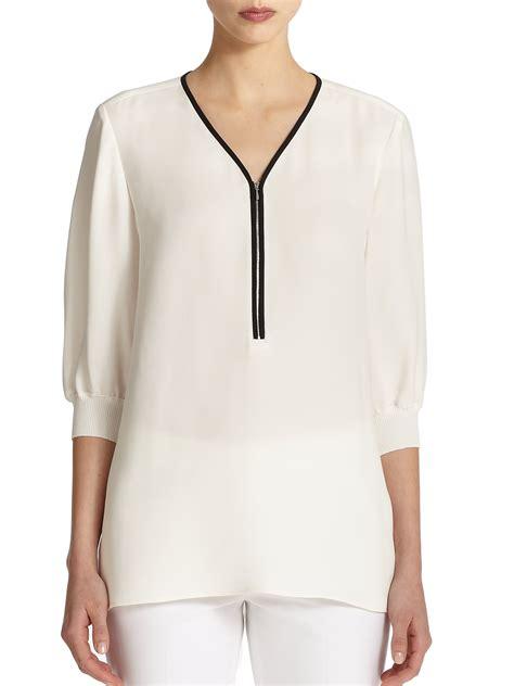 Blouse Zipper Black Hitam Lafayette 148 New York Tiara Zip Front Silk Blouse In