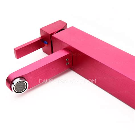 colored pink heightening square shaped bathroom faucets