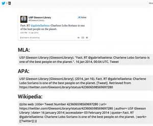 how do you cite a tweet in apa format gleeson gleanings