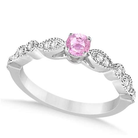 antique white pink engagement ring 14k white