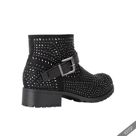 womens biker boots fashion womens fashion studded ankle biker boots low heel rock