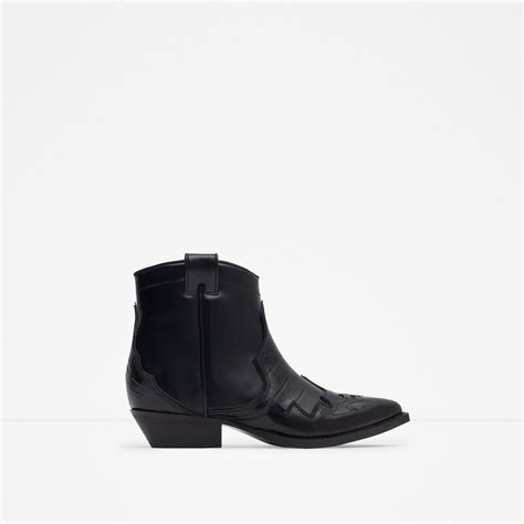 zara leather cowboy ankle boots in black lyst