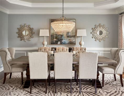 wall decor ideas for dining room 59020 round mirror in dining room dining room transitional