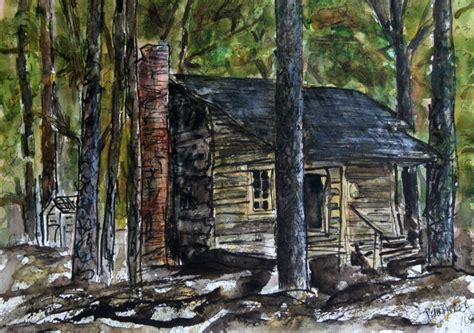 Log Cabin Paintings by Watercolor Paintings By Derek Mccrea Callaway