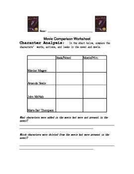Maniac Magee Worksheets by Maniac Magee Book Comparision By Devan Trahan Tpt