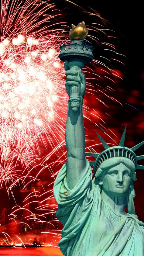 wallpaper independence day usa ny statue  liberty event fireworks holidays