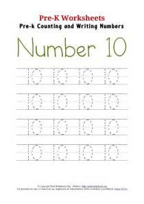 writing number 10 worksheet pre k worksheets org