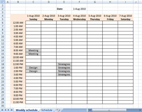 populate cells dynamically in a weekly schedule in excel