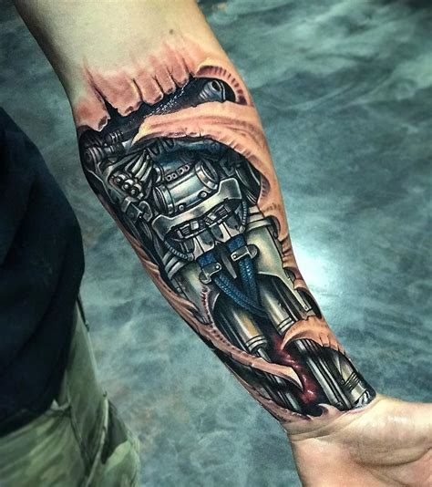 robot hand tattoo biomechanical forearm tats