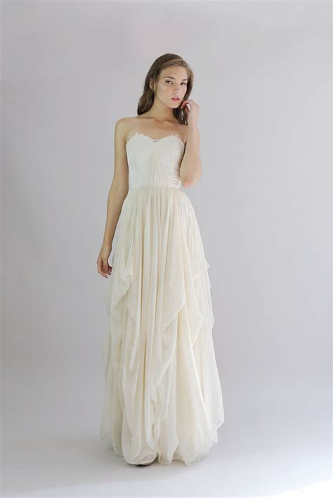 14055 Soft Chiffon With Inner Silk Lace Back Zipper strapless a line cascading ruffled lace and chiffon vintage wedding dress floor length