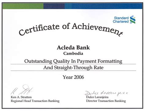 Certificate of Achievement from Standard Chartered Bank