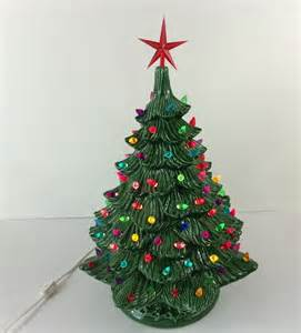 19 inch green ceramic light up christmas tree with bulbs amp base ebay