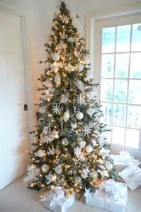 christmas tree white silver ornaments christmas pinterest