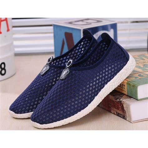 Sepatu Mesh sepatu slip on mesh kasual pria size 42 blue