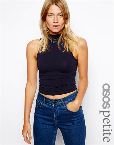 lyst asos crop top with turtle neck in black