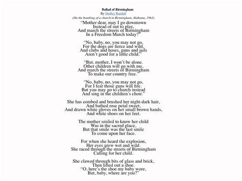 ballad template the ballad of birmingham reading
