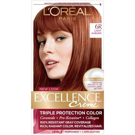 l or 233 al excellence cr 233 me permanent hair color 8g medium golden l oreal 174 excellence non drip cr 232 me 6r light auburn 1 kit target