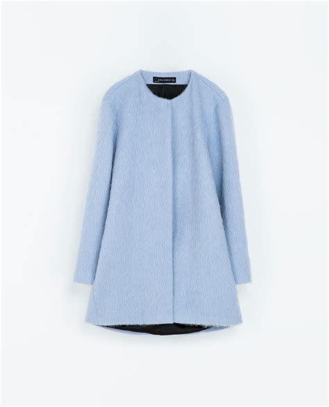 zara in blue lyst zara mohair coat in blue lyst