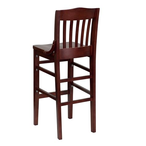 restaurant bar stools with backs hercules mahogany finished school house back wooden