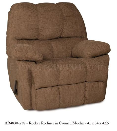 stylish rocker recliner mocha fabric stylish modern rocker recliner