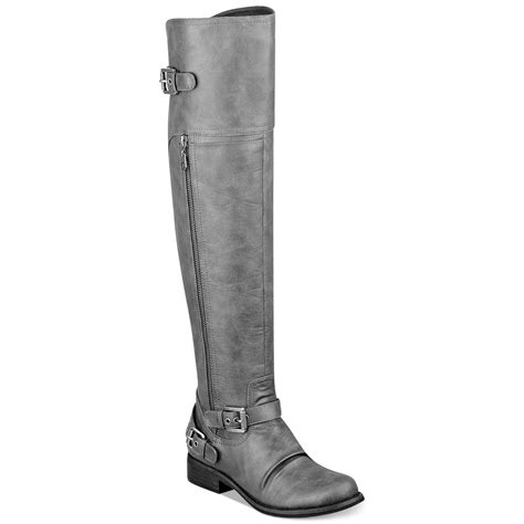 guess the knee boots g by guess hektor the knee boots in gray grey lyst