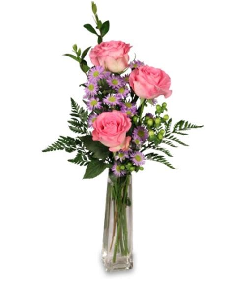 three s a charm pink bud vase roses flower shop