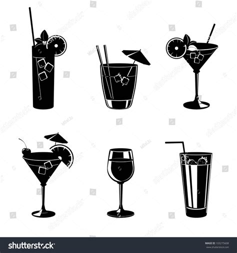 cocktail silhouette set of vector illustration of different drinks and