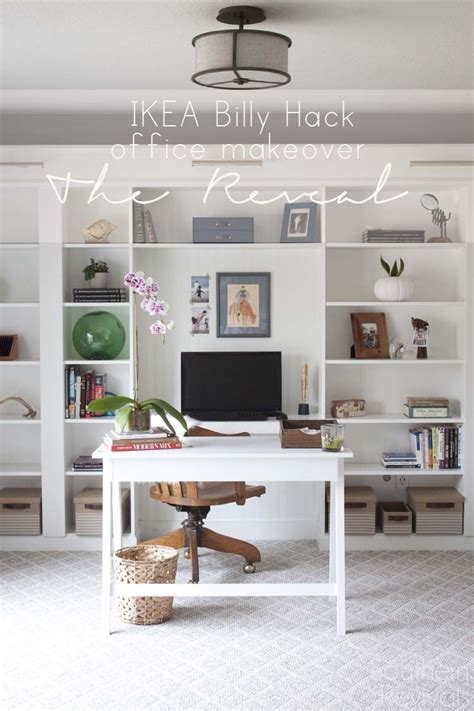 ikea office hack office makeover reveal ikea hack built in billy bookcases southern revivals